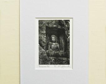 Matted Buddha Print, Buddha Wall Art, Miniature Art Zen, Black & White Buddha Photography, Buddhist Art, Stone Buddha Asian Art Print,Buddah