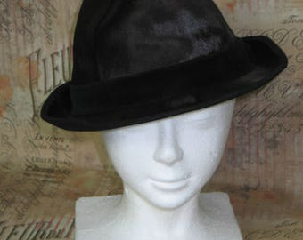 Classic Vintage Fedora Hat -Men's Beaver? Fur with Wool Felt lining Full Leather Band