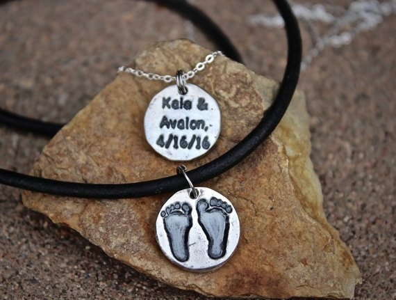 Footprint Charm, Footprint Necklace, Real footprints, Baby Footprints, New Baby Gift, Gift for Dad, Gift for New Dad, Gift for New Mom, Foot