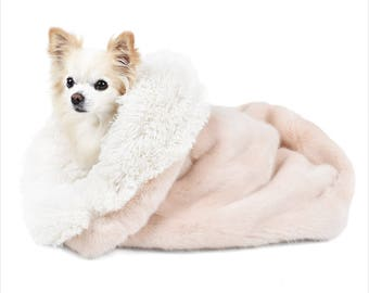 Peluche Plush Blush Mink and Ivory Shag Cuddle Cup Dog Bed