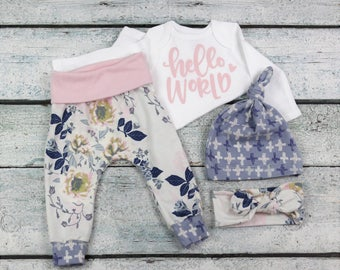 newborn baby girl coming home outfit/ floral take home set/newborn girl/bringing baby home