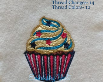 Patriotic, 4th of July Cup Cake #6 embroidery design, Multiple Formats