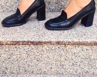 90s MIU-MIU Vintage Leather Heeled Oxford Platform Penny Loafer's