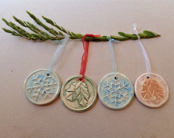 Christmas in July colorful ceramic ornaments set, shabby chic pottery cookies clay gift tags, holiday tree hanging decoration