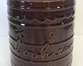 """Vtg MARCREST Jumbo Cookie Jar Daisy Dot Brown Stoneware Canister 9.25"""" Lid"""