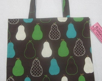 Tote Bag Pears Brown Green Turquoise