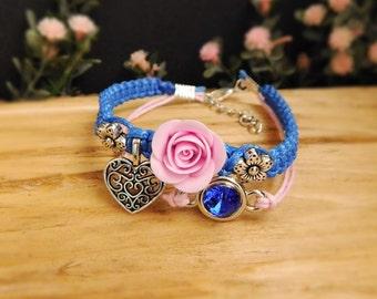 Charm bracelet Anniversary gift Lovers gift Blue bracelet Pink flower jewelry Crystal charm Royal blue jewelry Chic bracelet Heart jewelry