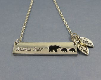 Necklace original Mama bear - mama bear necklace letter alphabet personalized gift custom