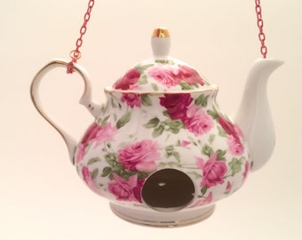 Teapot Birdhouse—Pink Roses—Vintage Style Teapot—Delicate Flower Pattern—Hangs on Pink Chain—