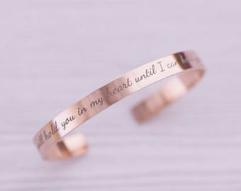 Rose Gold Stainless Cuff Bracelet - Engraved Jewelry - Engraved Bracelet - Bangle Bracelet - Custom Bracelet - Rose Gold Bracelet