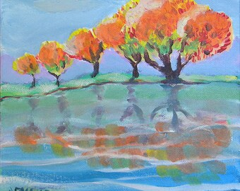 Fall Reflection original landscape oil painting