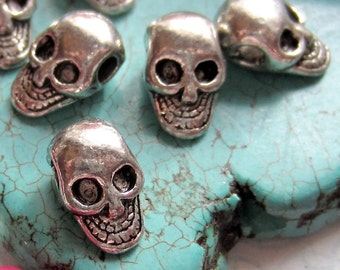 18 Skull beads antique silver metal diy jewelry supplies day of dead 10.5mm x 6.5mm  922