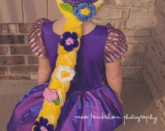 Rapunzel hat, crochet Rapunzel cap, Rapunzel braid, Rapunzel wig, Girls rapunzel hat, 5T - Preteen size available