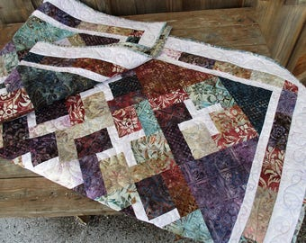 Batik Quilt Throw  Large Lap Quilt  Masculine Quilt Blanket Modern Rustic  Sofa Throw  Couch Blanket  Teal Purple Red Quilt Dark Color Quilt