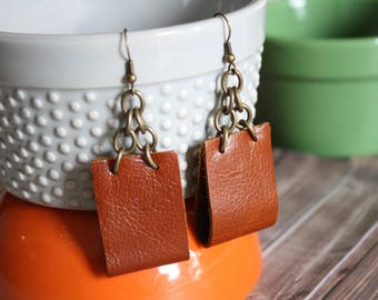 faux leather & chain earrings . brown and bronze
