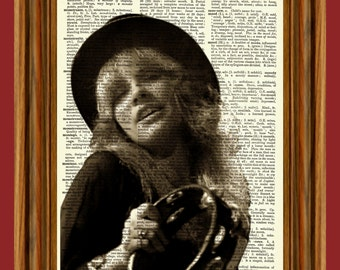 Stevie Nicks Picture Upcycled Dictionary Art Print Quote Poster