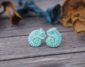 Little Chameleon Stud Earrings Lizard Chameleons Earrings 1 Glossy