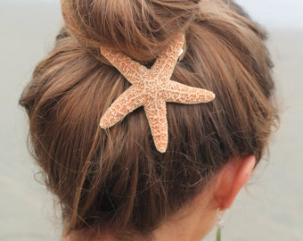Baja Starfish Hair clip, Barrette or Pinch Clip, nautical hairclip, beach wedding, mermaid accessories halloween costume
