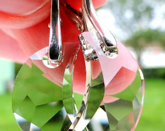 Smoky Crescent Moon Swarovski Crystal Earrings