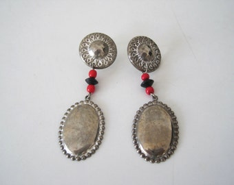 Vintage Southwest Silver Dangle Long Earring - Hand Made Americana Native American Western Style