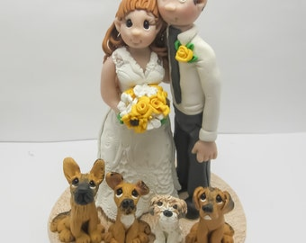 Wedding Cake Topper - CUSTOM cake topper, FUNNY cake topper, Wedding figurines, wedding topper, dog lovers  cake topper,wedding cake topper