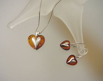Baltic Amber Sterling Silver Necklace and Earrings - Natural Honey Baltic Amber Jewelry Set