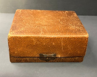 Antique Leather Cantilever Jewellry Box, Leather Jewelry Box, Edwardian Antiques c.1905