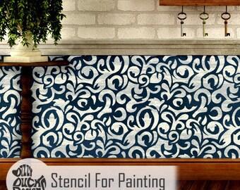 SAKARYA STENCIL - Brocade Damask Furniture Craft Wall Stencil for Painting - SAKA01