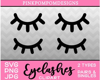 Eyelashes SVG - eyelashes digital clipart set – lashes svg - lashes png - Personal and Commercial use - lashes jpg