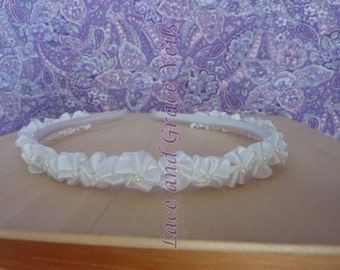 First Communion Headband, Little Satin Flower with Pearl