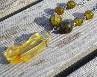 amber and green fire agate necklace