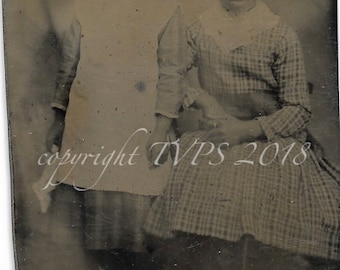 Vintage Tintype Photograph African American  Girls, Sisters