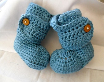 Cotton Button Cuff Baby Booties - Cotton Baby Booties - Cotton Baby Shoes - Cotton Button Cuff Baby Shoes - Cotton Crib Shoes - 0-24 months