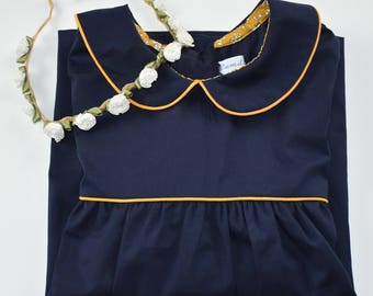 Blouse / tunic / cotton Navy Blue and mustard yellow piping