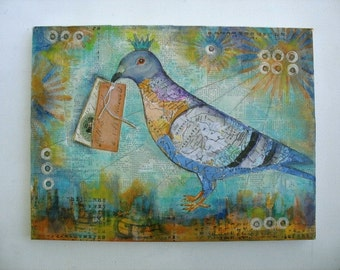 Bird collage, pigeon art, Queen Of The Couriers, homing pigeon, love letters, mail delivery, mixed media art