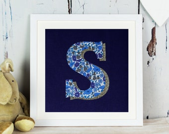 Liberty Glitter Initial Print - letter - monogram - personalised gift for girl- Liberty of London - personalized - purple - fabric art