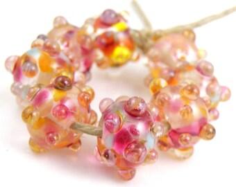 All My Loving SRA Lampwork Handmade Artisan Glass Donut/Round Beads Made to Order Set of 8 8x12mm