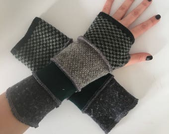 Upcycled fingerless gloves, arm warmers, wrist warmers, texting gloves, driving gloves, thumbhole gloves