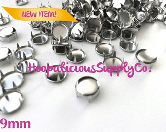 25pc 9mm Round Flat Top 4 Prong Studs in Silver. DIY Clothing. Fast Shipping from USA w/ Tracking 4 Domestic Orders.