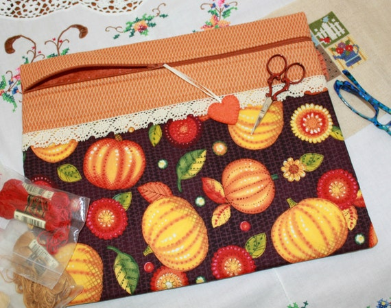 Fall Pumpkins Cross Stitch, Sewing, Embroidery Project Bag