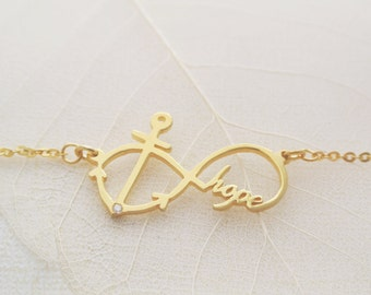 Anchor Necklace/Hope Necklace/Infinity Necklace/ Name Necklace in Sterling Silver NH11