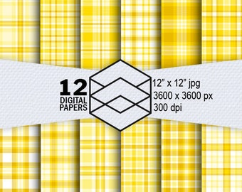 """Yellow Plaid Digital Paper Instant Download 12 Yellow Plaid Digital Paper Pack 300dpi 12""""x12"""" JPEG Files Scrapbooking Crafting"""