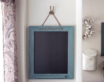 Rustic Framed Turquoise Chalk Marker Board, Kitchen Menu Chalkboard, Home Decor 20x24