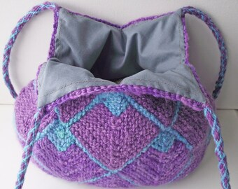 Knit  Lined Purse, Purple & Blue Knit Bag, Handspun Dyed Knitted Bag, Purple Turquoise Tote, Knit Shoulder Purse, Two Braided Handles