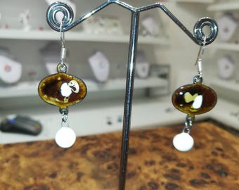 Earrings in enamels on copper Brown and white and ceramic pendants