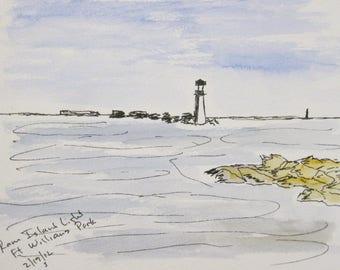 Ram Island Light Cape Elizabeth Maine Original Watercolor Painting Seascape Fort Williams Park by Kathleen Daughan Wall Decor Landscape Art