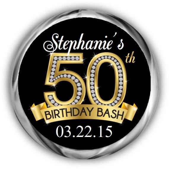 50th Birthday Hershey Kisses Stickers Personalized Diamond