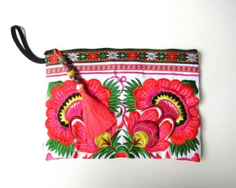 Zanzibar Embroidered Clutch Purse Colorful Clutch adorned with a Handcrafted Beaded Tassel Gift For Her Gift for Best Friend Gift for Women