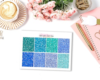 Glitter hearder BLUE tone planner stickers for Erin Condren Life Planner Vertical layout