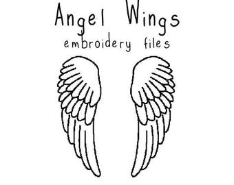 Angel Wings EMBROIDERY MACHINE FILES pattern design hus jef pes dst all formats holiday christmas Instant Download digital applique cute
